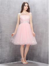 Scoop Sleeveless Beading and Appliques Zipper Homecoming Dress