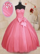 Pink Sleeveless Tulle Lace Up Sweet 16 Dresses for Military Ball and Sweet 16 and Quinceanera