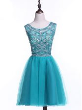 Scoop Sleeveless Prom Dress Mini Length Beading and Sequins Teal Tulle