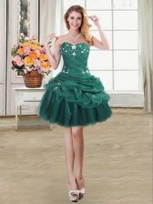 Customized Pick Ups Dark Green Sleeveless Organza Lace Up Prom Gown for Prom and Party