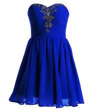 Enchanting Royal Blue Sweetheart Lace Up Beading Homecoming Dress Sleeveless