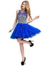 Scoop Beading Dress for Prom Royal Blue Zipper Sleeveless Mini Length