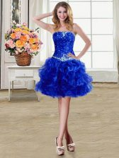 Elegant Royal Blue Organza Lace Up Strapless Sleeveless Mini Length Dress for Prom Beading and Ruffles