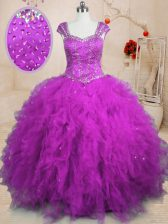 Best Selling Beading and Ruffles Ball Gown Prom Dress Purple Lace Up Cap Sleeves Floor Length