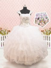Pretty White Straps Lace Up Beading and Ruffled Layers Flower Girl Dresses for Less Cap Sleeves