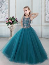 Perfect Scoop Teal Ball Gowns Beading Little Girls Pageant Gowns Lace Up Tulle Sleeveless Floor Length