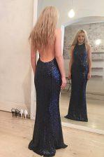Mermaid Scoop Navy Blue Sleeveless Floor Length Sequins Backless Prom Dresses