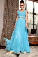 Enchanting Baby Blue Column/Sheath V-neck Sleeveless Chiffon Ankle Length Side Zipper Beading and Appliques and Ruching