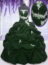 Dark Green and Peacock Green Sweet 16 Dress Military Ball and Sweet 16 and Quinceanera with Appliques and Pick Ups Strapless Sleeveless Lace Up
