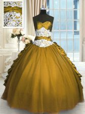 Pick Ups Ball Gowns Sweet 16 Dresses Olive Green Sweetheart Taffeta and Tulle Sleeveless Floor Length Lace Up