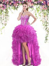 Classical High Low Fuchsia Prom Gown Tulle Sleeveless Beading and Ruffles