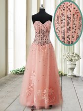 Peach Lace Up Sweetheart Beading Homecoming Dress Tulle Sleeveless