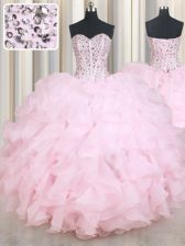 New Style Beading and Ruffles Quinceanera Dresses Baby Pink Lace Up Sleeveless Floor Length