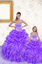 Sleeveless Floor Length Beading and Ruffles and Pick Ups Lace Up Vestidos de Quinceanera with Lavender