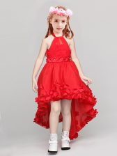 Chic A-line Flower Girl Dresses for Less Red Halter Top Organza Sleeveless High Low Zipper