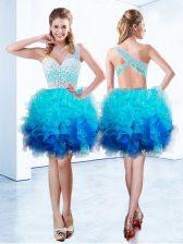 Vintage Aqua Blue Organza Criss Cross One Shoulder Sleeveless Knee Length Evening Dress Beading and Ruffles