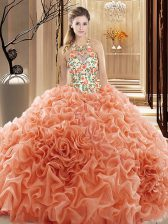 High Quality Sleeveless Court Train Embroidery and Ruffles Backless Sweet 16 Quinceanera Dress