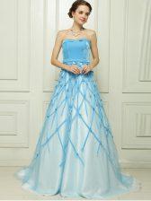 Edgy A-line Dress for Prom Baby Blue Strapless Tulle Sleeveless Floor Length Zipper