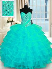 New Arrival Organza Sleeveless Floor Length Quinceanera Dresses and Beading and Ruffled Layers