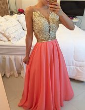 Chiffon V-neck Sleeveless Backless Beading and Appliques Prom Party Dress in Watermelon Red
