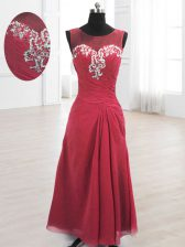 Scoop Floor Length Wine Red Prom Party Dress Chiffon Sleeveless Beading and Ruching