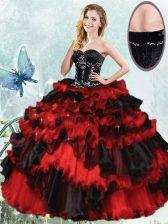 Customized Sleeveless Beading and Ruffled Layers Lace Up Sweet 16 Dresses