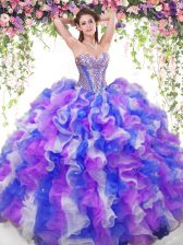 Attractive Sweetheart Sleeveless Organza Quince Ball Gowns Beading and Ruffles Lace Up