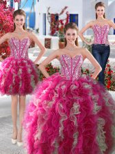 Inexpensive Three Piece Organza Sweetheart Sleeveless Lace Up Beading Sweet 16 Quinceanera Dress in White and Hot Pink