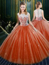 Custom Fit High-neck Sleeveless Sweet 16 Quinceanera Dress Floor Length Lace Orange Red Tulle