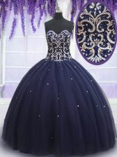 Sweetheart Sleeveless Lace Up 15 Quinceanera Dress Navy Blue Tulle