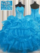 Beauteous Pick Ups Floor Length Baby Blue 15 Quinceanera Dress Strapless Sleeveless Lace Up