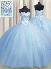Bling-bling Big Puffy Light Blue Lace Up Quince Ball Gowns Beading Sleeveless Floor Length