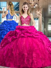 Fuchsia Zipper V-neck Lace and Ruffles and Pick Ups 15th Birthday Dress Taffeta and Tulle Sleeveless Brush Train