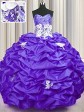 Purple Taffeta Lace Up Sweetheart Sleeveless With Train Sweet 16 Dresses Brush Train Appliques and Sequins and Pick Ups