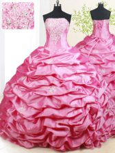 Customized Sleeveless Brush Train Lace Up With Train Beading and Pick Ups Quince Ball Gowns