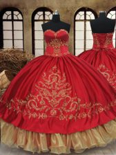 Discount Wine Red Lace Up Sweetheart Beading and Embroidery Quinceanera Gown Organza and Taffeta Sleeveless