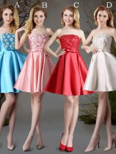 Elegant Red and Baby Blue and Champagne Sleeveless Appliques and Bowknot Mini Length Court Dresses for Sweet 16