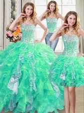 Three Piece Turquoise 15th Birthday Dress Military Ball and Sweet 16 and Quinceanera with Beading and Ruffles and Sequins Sweetheart Sleeveless Lace Up