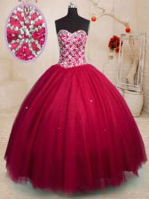 Red Lace Up 15 Quinceanera Dress Beading Sleeveless Floor Length
