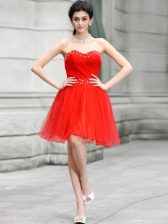 Fashionable Coral Red Sleeveless Beading Knee Length Prom Evening Gown