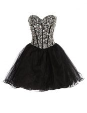 Enchanting Black Dress for Prom Prom and Party with Beading Sweetheart Sleeveless Lace Up