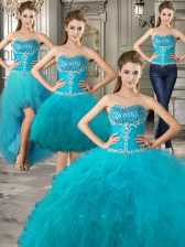 Unique Four Piece Teal Ball Gown Prom Dress Military Ball and Sweet 16 and Quinceanera with Beading and Ruffles Sweetheart Sleeveless Lace Up