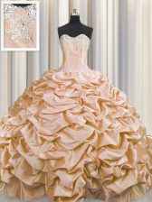 Dazzling Brush Train Sleeveless Taffeta Sweep Train Lace Up 15th Birthday Dress in Peach with Beading and Pick Ups