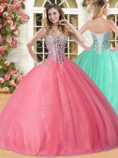 Sweetheart Sleeveless Quinceanera Gown Floor Length Beading Coral Red Tulle