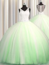 See Through Zipple Up V-neck Zipper Beading and Appliques Quinceanera Gowns Brush Train Sleeveless