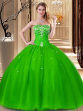 Colorful Ball Gowns Beading and Embroidery 15th Birthday Dress Lace Up Tulle Sleeveless Floor Length