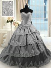 Gorgeous Ruffled Grey Sleeveless Taffeta Court Train Lace Up Quinceanera Dress for Military Ball and Sweet 16 and Quinceanera