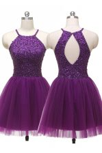 Scoop Purple A-line Sequins Zipper Tulle Sleeveless Mini Length