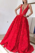 Best Red Satin Zipper Prom Evening Gown Sleeveless With Brush Train Appliques