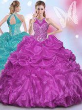 Custom Fit Pick Ups Halter Top Sleeveless Lace Up Vestidos de Quinceanera Fuchsia Organza